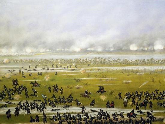 Column of Argentine Forces Led by General Emilio Mitre, Launching Attack in Curupayty-Candido Lopez-Giclee Print
