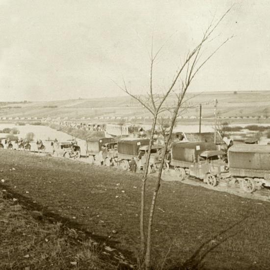 Column of trucks on the Voie Sacrée, Verdun, northern France, c1914-c1918-Unknown-Photographic Print