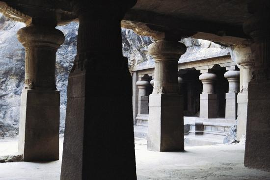 Columns in East Courtyard of Buddhist Temple on Elephanta Island, India, 5th-8th Century--Giclee Print