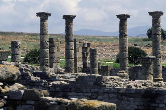 Columns of the Roman Basilica, Baelo Claudia, Andalusia, Spain--Giclee Print