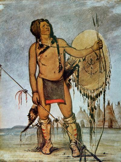 Comanche Warrior with a Shield, Lance and Bow and Arrows, c.1835-George Catlin-Giclee Print