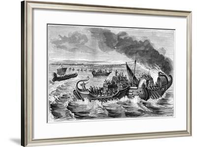 Combat Between Roman and Veneti Vessels, Loire River, 56 BC (1882-188)- Dietrich-Framed Giclee Print