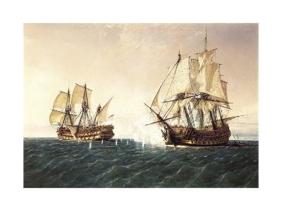 Combat Between the Spanish Ship 'Catalan' and the British Ship 'Mary' in 1819, 1888-Rafael Monleon Y Torres-Giclee Print