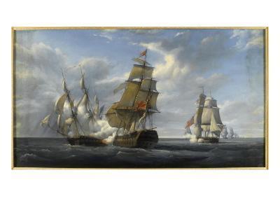 Combat de frégate française Canonnière contre vaisseau anglais Tremendous, 21 avril 1806-Pierre Julien Gilbert-Giclee Print