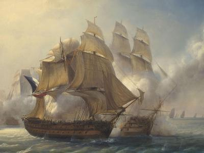Combat du vaisseaux français le Romulus contre trois vaisseaux anglais à l'entrée de la rade de-Pierre Julien Gilbert-Giclee Print