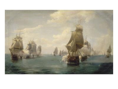 Combat naval de la Dominique, le 17 avril 1780-Pierre Julien Gilbert-Giclee Print