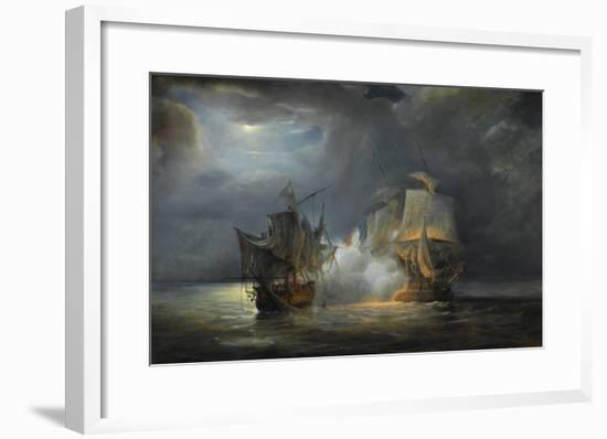 """Combat naval entre la frégate """"la Vénus"""" commandée par le capitaine Hamelin contre la frégate-Pierre Julien Gilbert-Framed Giclee Print"""