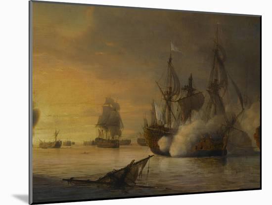 """Combat naval entre le vaisseau français """"l'Intrépide"""" commandé par le comte de Vaudreuil,-Pierre Julien Gilbert-Mounted Giclee Print"""