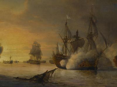 """Combat naval entre le vaisseau français """"l'Intrépide"""" commandé par le comte de Vaudreuil,-Pierre Julien Gilbert-Giclee Print"""