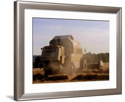 Combine Harvester Baling Hay, Seen from the Cotswolds Way Footpath, the Coltswolds, England-David Hughes-Framed Photographic Print