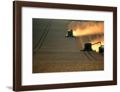 Combine Harvesters And Tractor Working In a Field-Jeremy Walker-Framed Photographic Print
