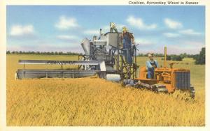 Combine Harvesting Wheat in Kansas