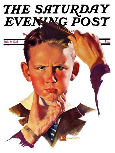 """Combing His Hair,"" Saturday Evening Post Cover, July 9, 1938-Douglas Crockwell-Giclee Print"