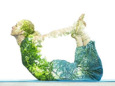 Combining Nature with Spiritual Yoga in a Creative Portrait of a Young Woman Lying with Her Body Ar-Victor Tongdee-Photographic Print