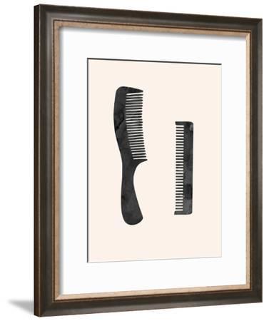 Combs-Peach & Gold-Framed Art Print