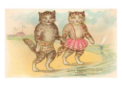Come Along Little Girl, Cats at Beach--Art Print