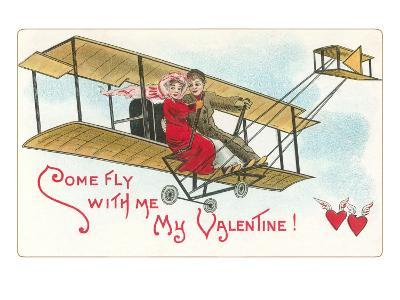 Come Fly with me, Couple in Vintage Biplane--Art Print