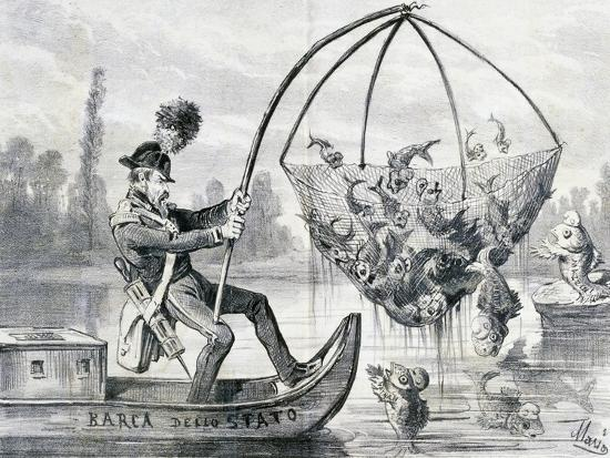 Come Here Fresh Water Fish or More Correctly Policeman Lanza Fishing, Satirical Cartoon, Italy--Giclee Print