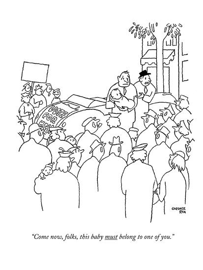 """""""Come now, folks, this baby must belong to one of you."""" - New Yorker Cartoon-Gardner Rea-Premium Giclee Print"""