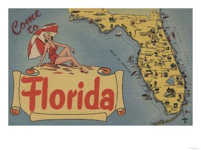 Come to Florida Map of the State, Pin-Up Girl - Florida-Lantern Press-Art Print