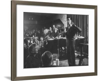 """Comedian, Mort Sahl Entertaining at a Night-Club Called """"Mister Kelly's"""""""