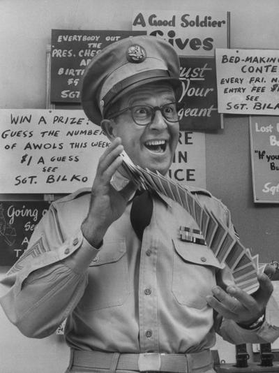 Comedian Phil Silvers Playing Cards on His Television Show-Yale Joel-Premium Photographic Print