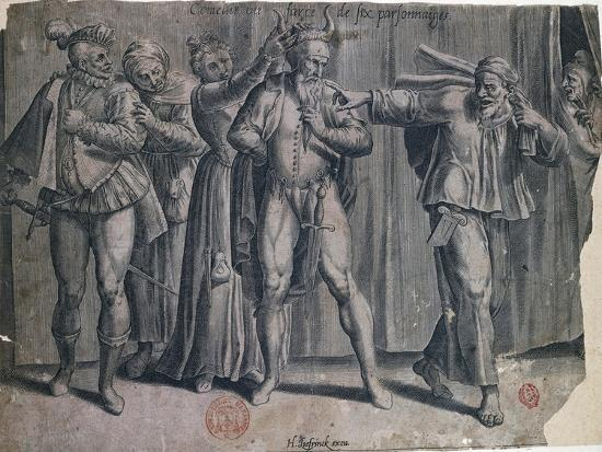 Comedy or Farce of Six Characters, Engraving-Hans Liefrinck-Giclee Print