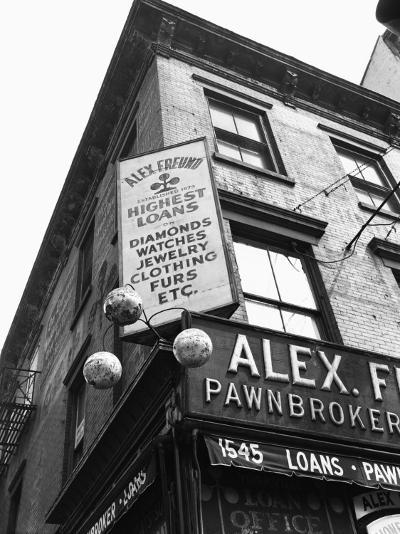 Comerical Sign at Building Corner, Low Angle View-George Marks-Photographic Print
