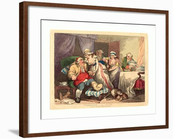 Comfort in the Gout, 1785, Hand-Colored Etching, Rosenwald Collection-Thomas Rowlandson-Framed Giclee Print