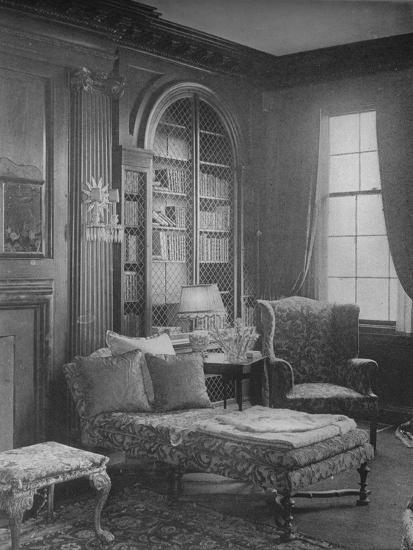 Comfortable corner in the library showing bookcase, house of Miss Anne Morgan, New York City, 1924-Unknown-Photographic Print