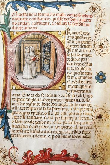 Comforting the Condemned, Illuminated Page from the Ritual of the Brethrens from the Mercy of Genoa--Giclee Print