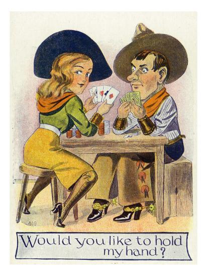 Comic Cartoon - Cowgirl and Cowboy Playing Poker, Cowgirl Wants You to Hold Her Hand-Lantern Press-Art Print