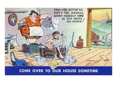Comic Cartoon - Hillbillies; Pa Gets so Dirty, the Hogs Won't Stay inside-Lantern Press-Art Print