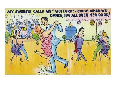 Comic Cartoon - Man Says He's Called Mustard Cause When Dancing, He's All over the Dogs-Lantern Press-Art Print