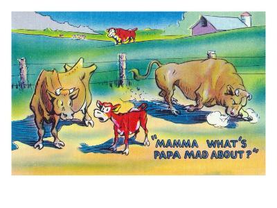 Comic Cartoon - Red Calf Asking Mamma Cow Why Papa Bull is Mad-Lantern Press-Art Print