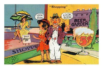 Comic Cartoon - Shopping Scene; Woman Says Look Dear, Husband Says Look Beer-Lantern Press-Art Print