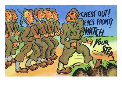 Comical Military Cartoon - Drill Sergeant About to Fall in a Ditch, c.1942-Lantern Press-Art Print