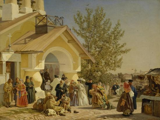 Coming Out of a Church in Pskov, 1864-Alexander Ivanovich Morozov-Giclee Print