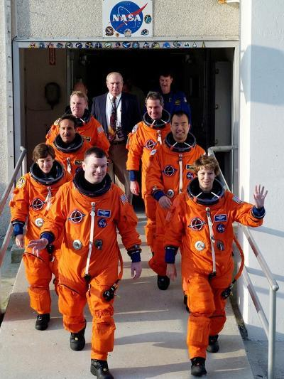 Commander Eileen Collins with Space Shuttle Mission 114 Crew En Route to the Launch Pad, Jul 2005--Photo