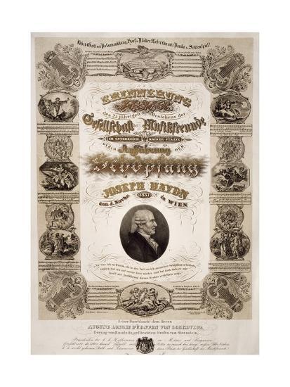Commemorative Poster for Franz Joseph Haydn--Giclee Print