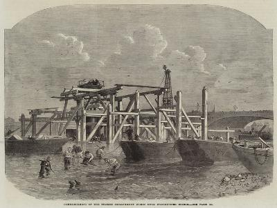 Commencement of the Thames Embankment Works Near Westminster Bridge--Giclee Print