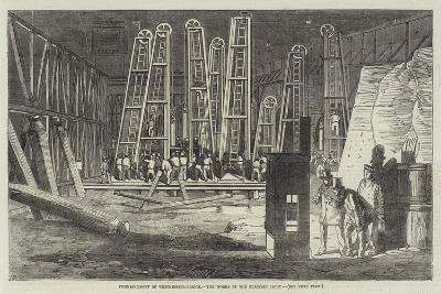 Commencement of Westminster-Bridge, the Works by the Electric Light--Giclee Print