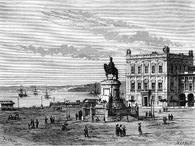 Commerce Square, Lisbon, Portugal, 19th Century-Charles Barbant-Giclee Print