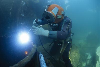 Commercial Diver Welding-Alexis Rosenfeld-Photographic Print