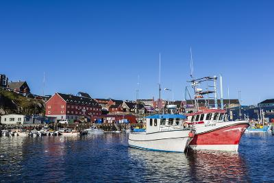 Commercial Fishing and Whaling Boats Line the Busy Inner Harbor in the Town of Ilulissat-Michael Nolan-Photographic Print