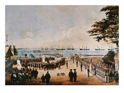 Commodore Perry Lands in Japan to Meet the Imperial Commissioners at Yokohama, 8th March 1854-Wilhelm Heine-Giclee Print