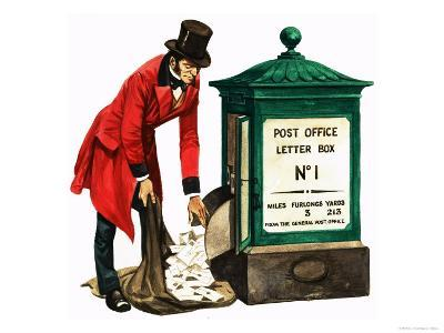 Communication One Hundred Years Ago. a Victorian Postman and Post Box-Peter Jackson-Giclee Print