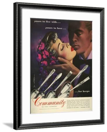 Community Cutlery, Magazine Advertisement, USA, 1950--Framed Giclee Print