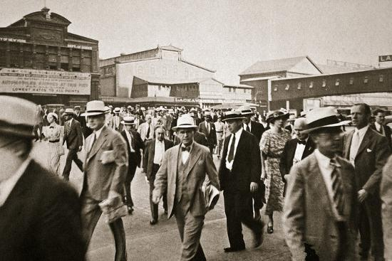 Commuters from New Jersey crossing West Street from the Hoboken ferry, New York, USA, early 1930s-Unknown-Photographic Print