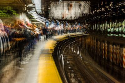 Commuters in NYC subway system--Photographic Print
